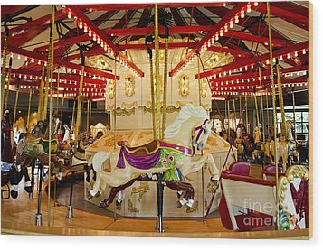 Wood Print featuring the photograph Vintage Carousel by Maria Janicki