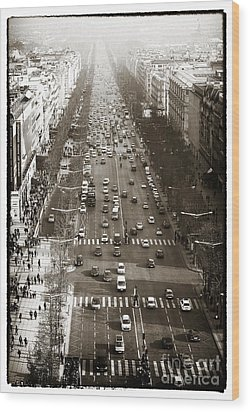 Vintage Champs Elysees Wood Print by John Rizzuto