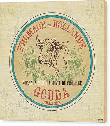 Vintage Cheese Label 1 Wood Print by Debbie DeWitt