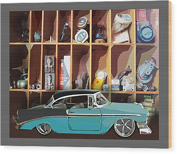 Vintage Chevy Belair With Retro Auto Parts Wood Print by John Fish