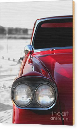 Vintage Chevy Red Wood Print by Jennifer Mecca