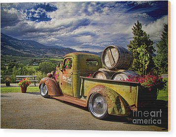 Vintage Chevy Truck At Oliver Twist Winery Wood Print by David Smith
