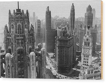 Vintage Chicago Skyline Wood Print