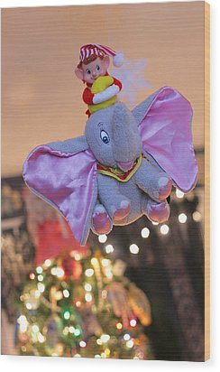 Vintage Christmas Elf Flying With Dumbo Wood Print by Barbara West
