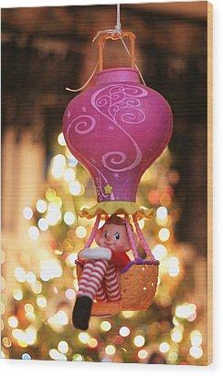Vintage Christmas Elf Hot Air Balloon Ride Wood Print