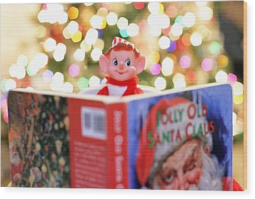Wood Print featuring the photograph Vintage Christmas Elf Reading A Book by Barbara West
