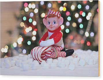 Wood Print featuring the photograph Vintage Christmas Elf Sliding by Barbara West
