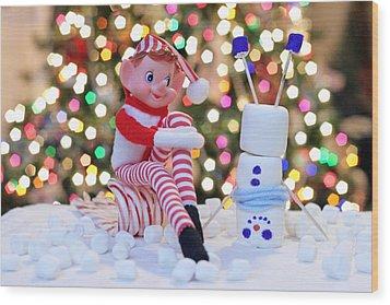 Vintage Christmas Elf Upside Down Snowman Wood Print