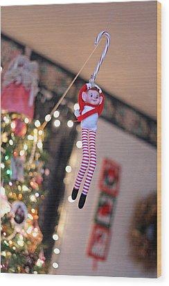 Wood Print featuring the photograph Vintage Christmas Elf Zipline by Barbara West