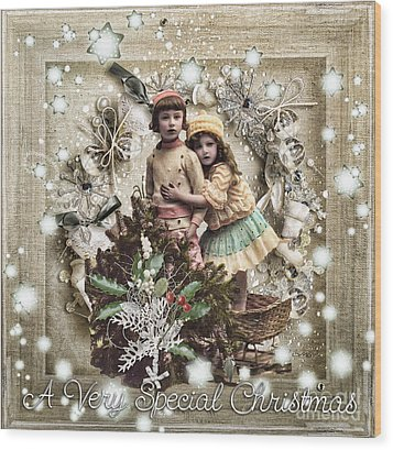 Vintage Christmas Wood Print by Mo T