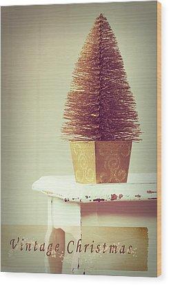 Vintage Christmas Treee Wood Print by Amanda Elwell