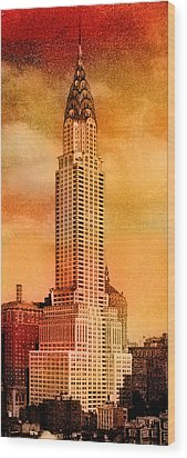 Vintage Chrysler Building Wood Print by Andrew Fare