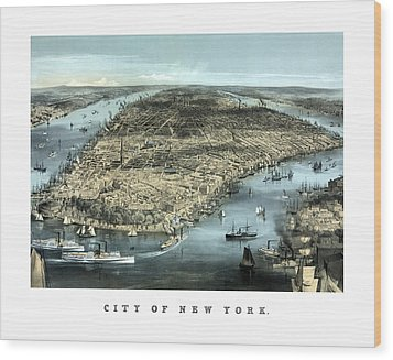 Vintage City Of New York Wood Print by War Is Hell Store