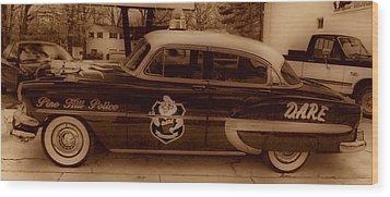 Vintage Classic D.a.r.e. Police Car Wood Print by Thomas  MacPherson Jr