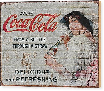 Vintage Coke Sign Wood Print by Jack Zulli