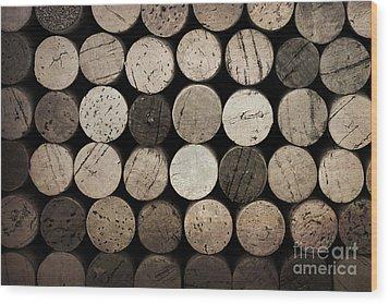 Vintage Corks Wood Print by Jane Rix