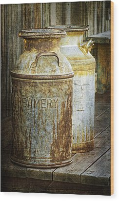 Vintage Creamery Cans In 1880 Town In South Dakota Wood Print by Randall Nyhof