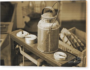 Wood Print featuring the photograph Vintage Creamery In Sepia by Lincoln Rogers