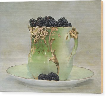 Vintage Cup O Berries Wood Print