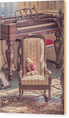 Vintage Doll In Parlor Wood Print by Edward Fielding