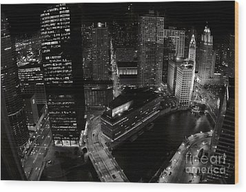 Vintage 2003  Downtown Chicago At Night Wood Print