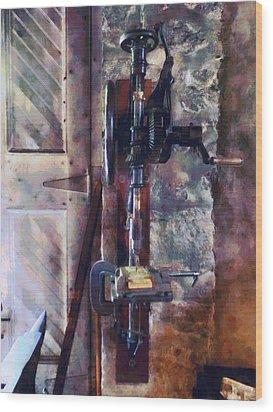 Vintage Drill Press Wood Print by Susan Savad