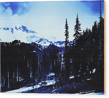 Wood Print featuring the photograph Vintage... Driving Up To Mount Rainier Early 1900 Era... by Eddie Eastwood