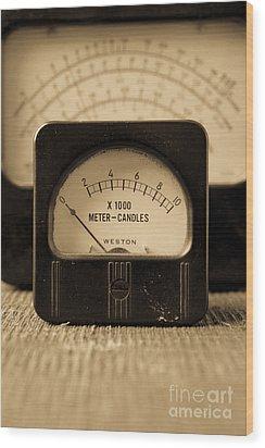 Vintage Electrical Meters Wood Print by Edward Fielding