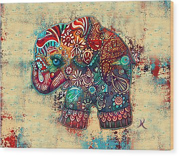 Vintage Elephant Wood Print by Karin Taylor