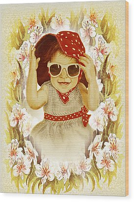 Vintage Fashion Girl Wood Print by Irina Sztukowski