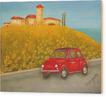 Vintage Fiat 500 Wood Print by Pamela Allegretto
