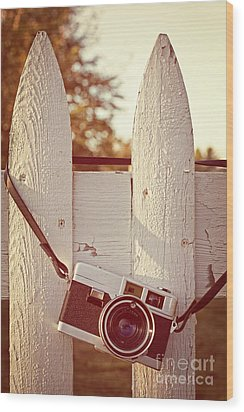 Vintage Film Camera On Picket Fence Wood Print by Edward Fielding