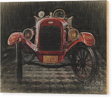 Vintage Fire Truck  ... Wood Print by Chuck Caramella