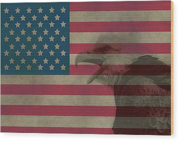 Vintage Flag With Bald Eagle Wood Print by Dan Sproul