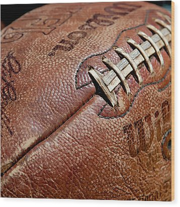 Vintage Football Wood Print by Art Block Collections