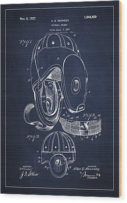 Vintage Football Helment Patent Drawing From 1927 Wood Print by Aged Pixel