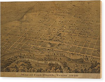 Vintage Fort Worth Texas In 1876 City Map On Worn Canvas Wood Print by Design Turnpike