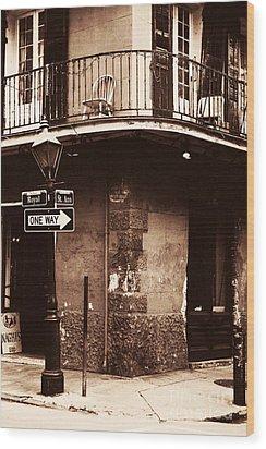 Vintage French Quarter Wood Print by John Rizzuto