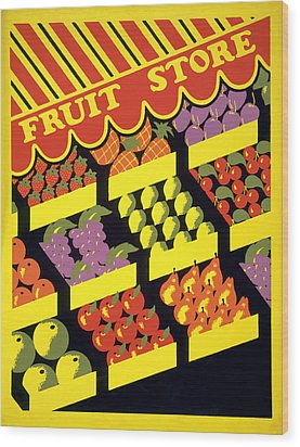 Vintage Fruit Stand Wood Print by American Classic Art