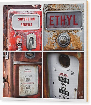 Vintage Fuel Pumps Collage Wood Print by Lawrence Burry
