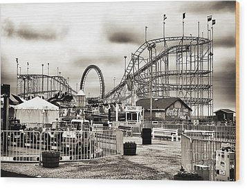 Vintage Funtown Wood Print by John Rizzuto