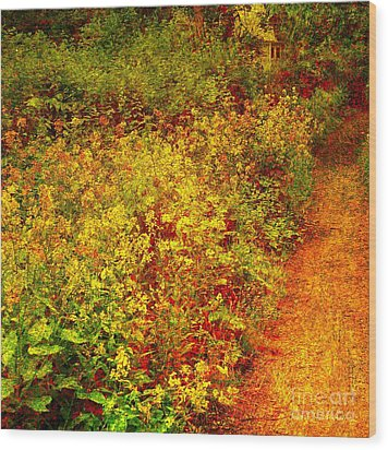 Wood Print featuring the photograph Vintage Garden Path by Terri Gostola