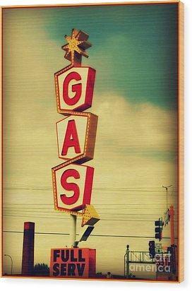 Vintage Gas Sign Wood Print