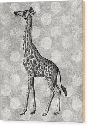 Gray Giraffe Wood Print by Flo Karp