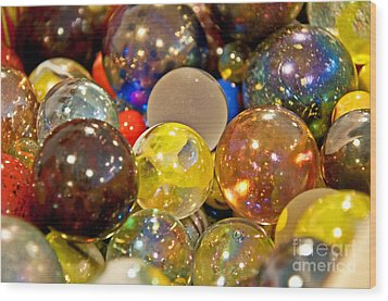 Vintage Glass Marbles Wood Print