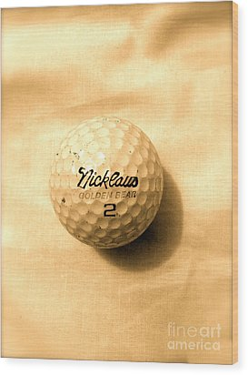 Vintage Golf Ball Wood Print by Anita Lewis