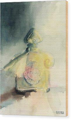 Vintage Guerlain Mitsouko Perfume Bottle Wood Print by Beverly Brown