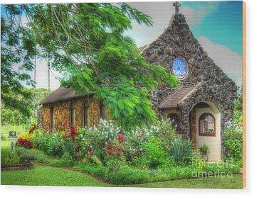 Vintage Hawaiian Church Wood Print