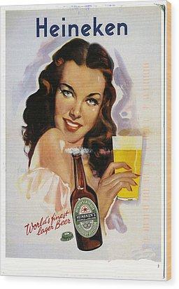 Vintage Heineken Beer Ad Wood Print by Allen Beilschmidt
