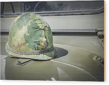 Vintage Helmet On Jeep Hood Wood Print